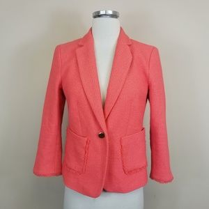 Ann Taylor Fringe Trim 3/4 Sleeve Blazer 6P
